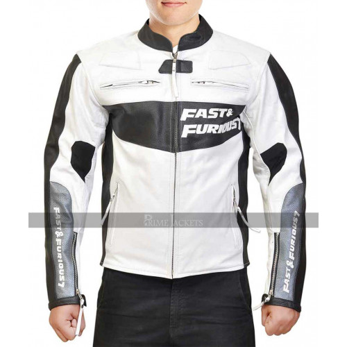 Vin Fast /& Furious 7 Dominic Toretto White Genuine Leather Driver Jacket #533