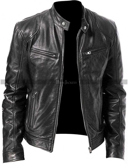 Vintage Cafe Racer Men's Motorcycle Leather Jacket