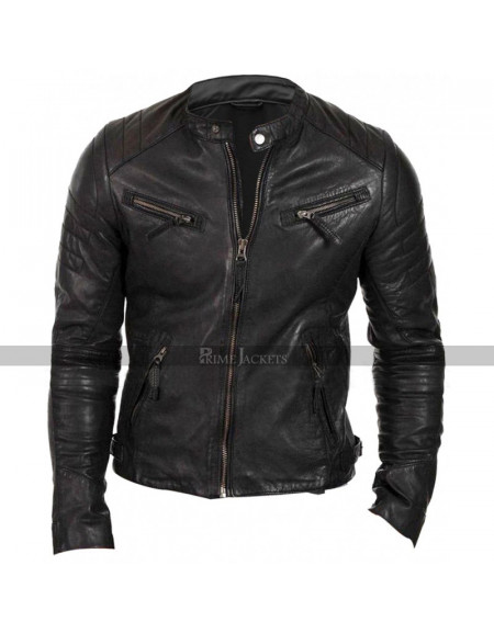 Mens Cafe Racer Brando Retro Quilted Jacket