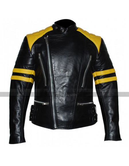 Men's Vintage Black Yellow Stripes Leather Motorcycle Jacket