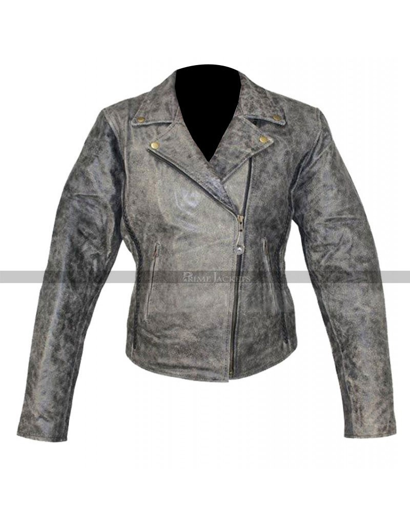 Women's Motorcycle Distressed Jacket