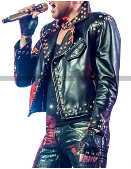 Adam Lambert Concert 2018 Studded Leather Jacket