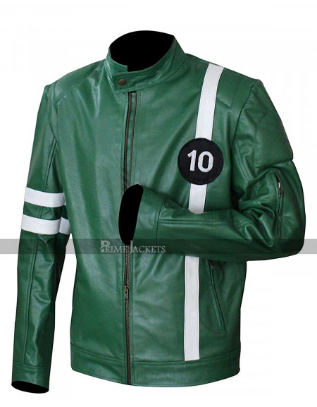 Ben 10 Ryan Kelley (Ben Tennyson) Green Leather Jacket