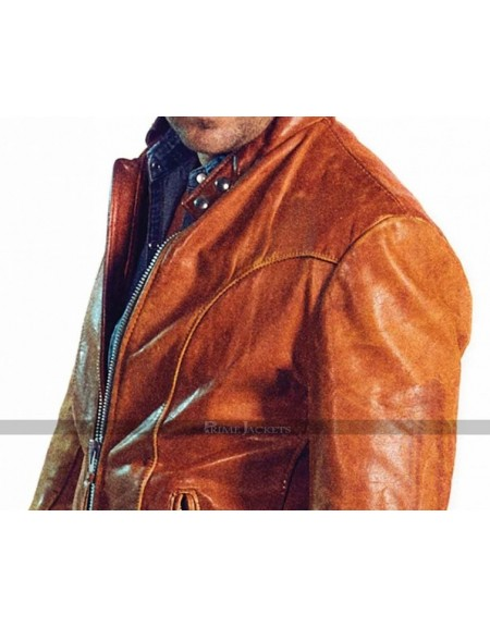 Caught Allan Hawco Brown Leather Jacket