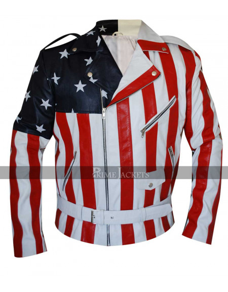 American Flag Biker Style Leather Jacket