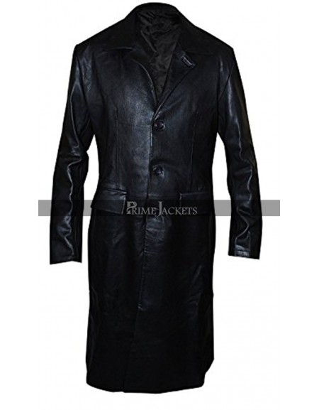 David Boreanaz Angel Black Leather Trench Coat