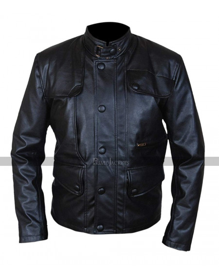 Terminator Genisys Arnold Schwarzenegger Black Leather Jacket