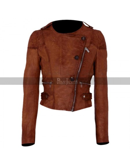 Ashley Benson Asymmetrical Motorcycle Leather Jacket