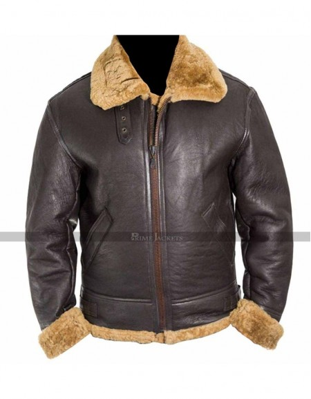 Men's Aviator RAF B3 Ginger Original Shearling Sheepskin Leather Jacket