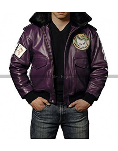 Batman Joker Goons Purple Bomber Leather Jacket
