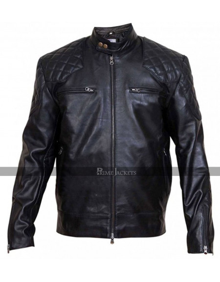 David Beckham Brazil Black/Brown Motorcycle Quilted Jacket
