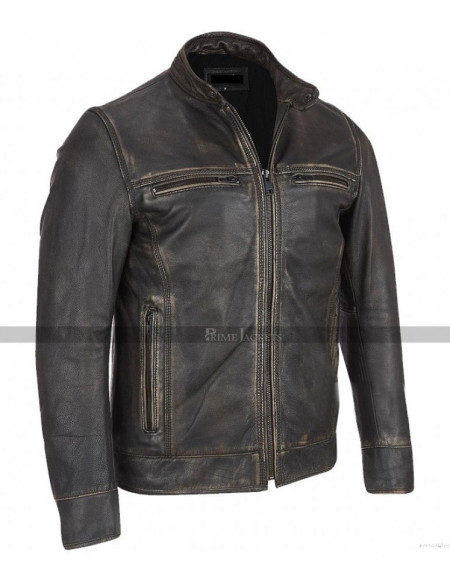 Black Rivet Faded Arrow Biker Leather  Jacket