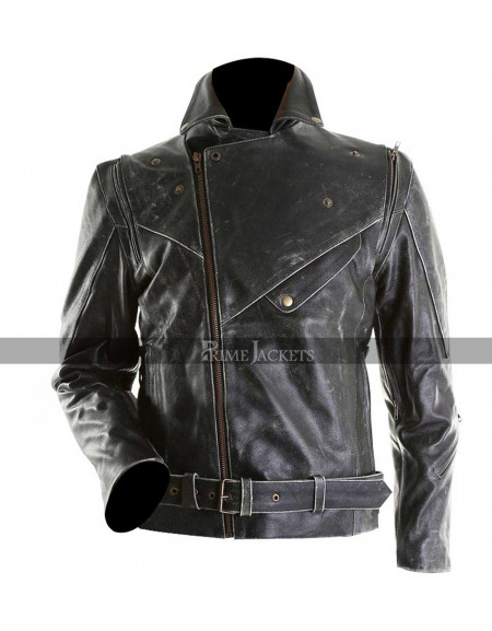 Men Slim Fit Distressed Black Biker Leather Jacket