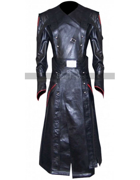 Captain America Avenger Red Skull Black Leather Costume Coat