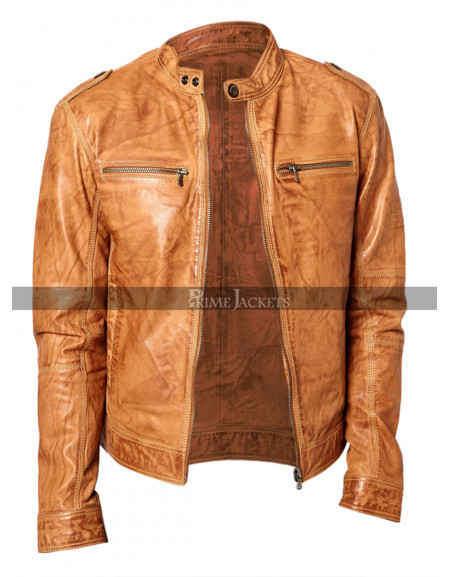 Men's Slimfit  Chest Zip Pocket Brown Biker Jacket