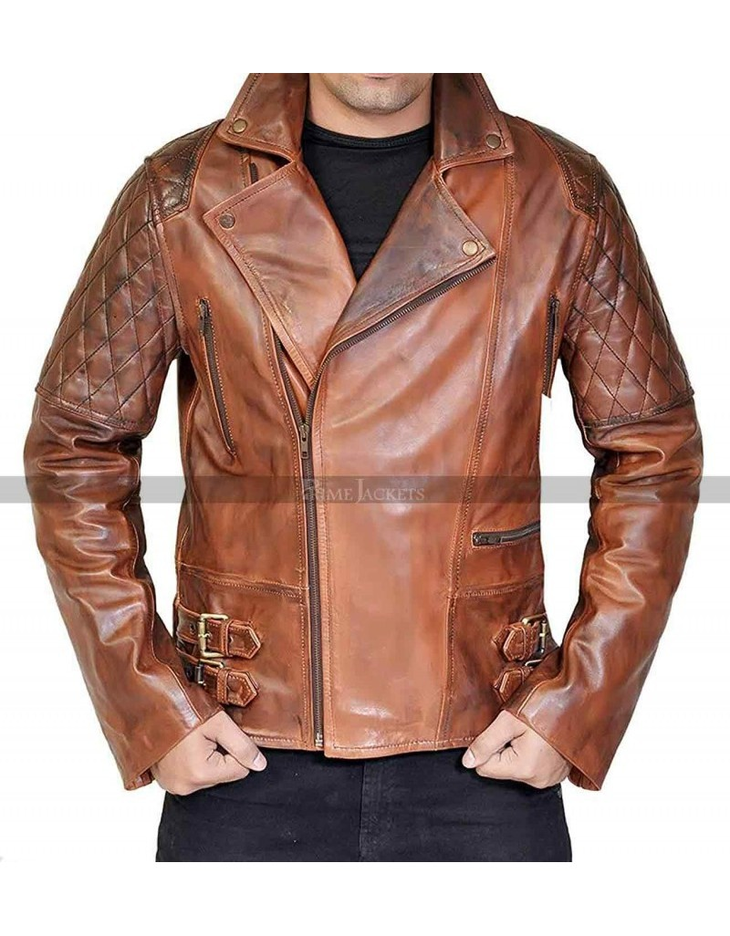 7fe476e3e2 Mens Brown Distressed Leather Marlon Brando Biker Motorcycle Jacket