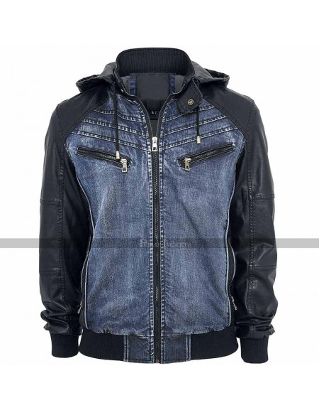 Urban Classics Hooded Denim Blue Jacket