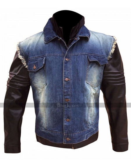 Denim Signature Leather Hooded Jacket