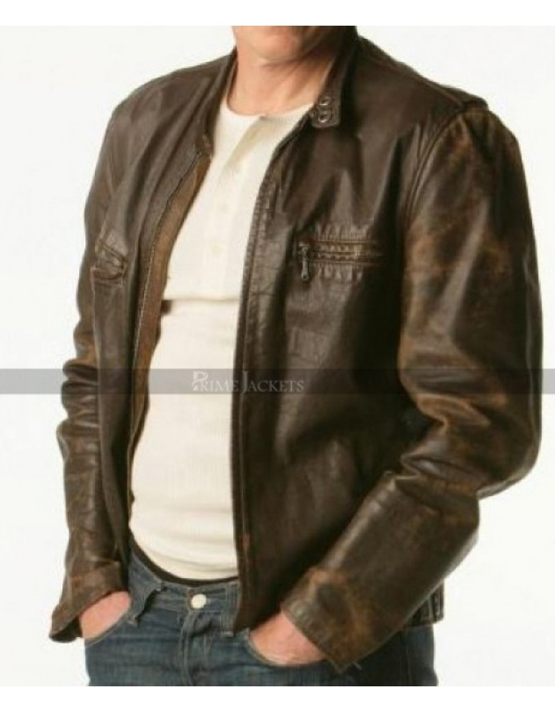 Tommy Gavin Rescue Me Denis Leary Brown Leather Jacket