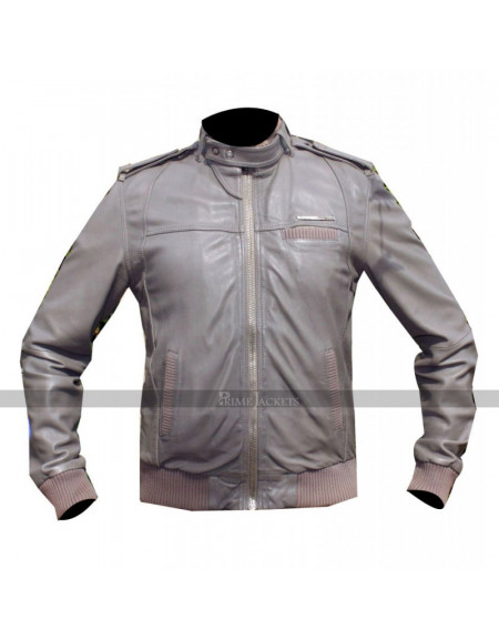 Men's Designer Grey Bomber Biker Leather Jacket