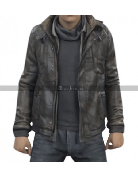 Connor RK800 Detroit Become Human Leather Hoodie