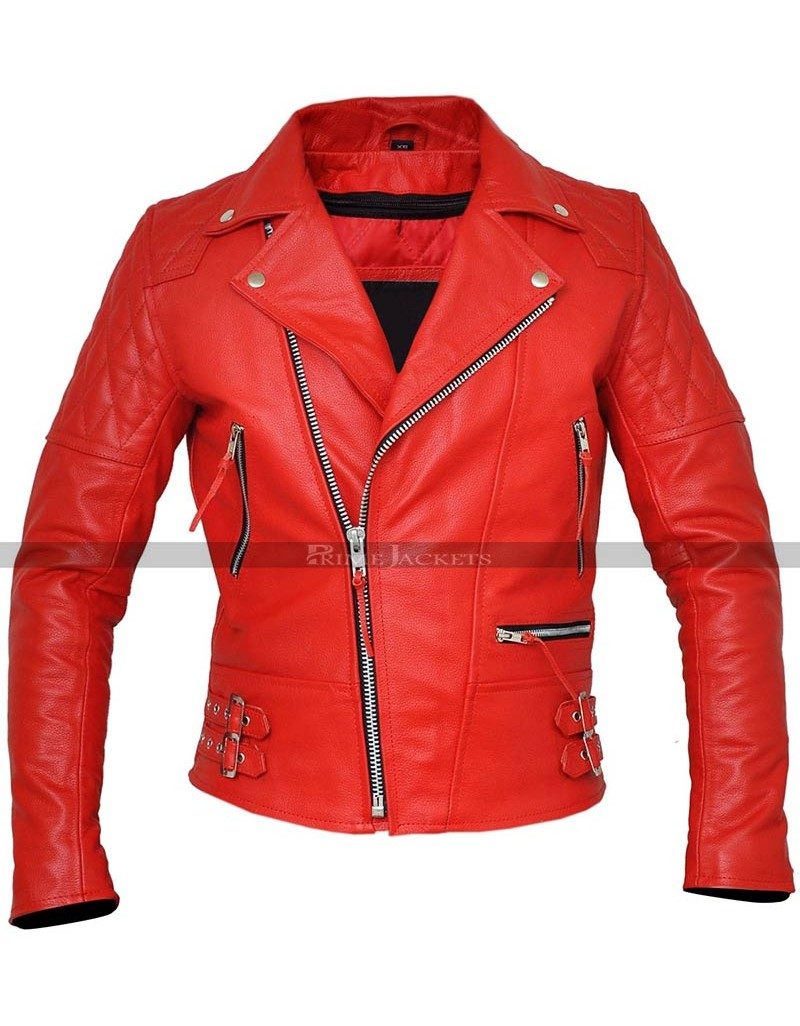 Men's Classic Diamond Quilted Red Motorcycle Leather Jacket