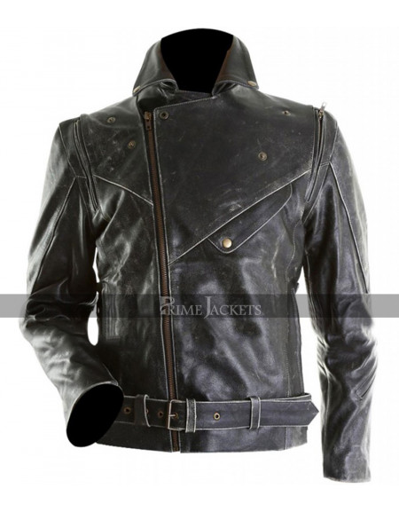 Marlon Brando Bike Black Distressed Leather Jacket