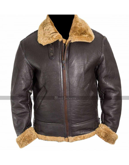 Dunkirk Tom Hardy Farrier Fur Brown Leather Jacket
