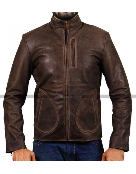 Rampage Dwayne Johnson (Davis Okoye) Distressed leather Jacket