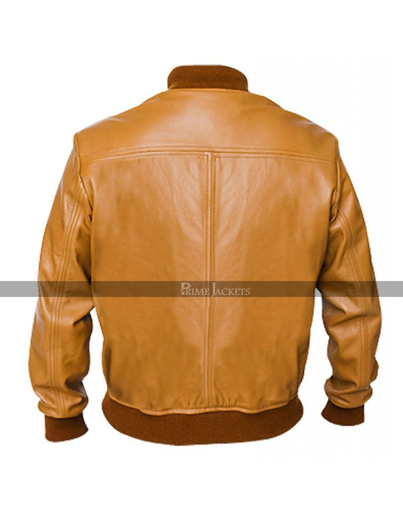 Vintage Camel Bomber Brown Biker Leather Jacket
