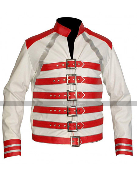 Red And White Freddie Mercury Leather Jacket