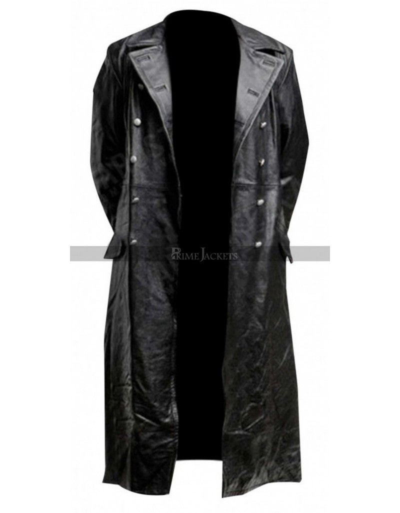 German Classic Officer Black Leather Trench Coat Costume