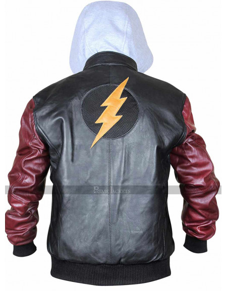 Men's New Justice League Movie The Flash Leather Hooded Jacket