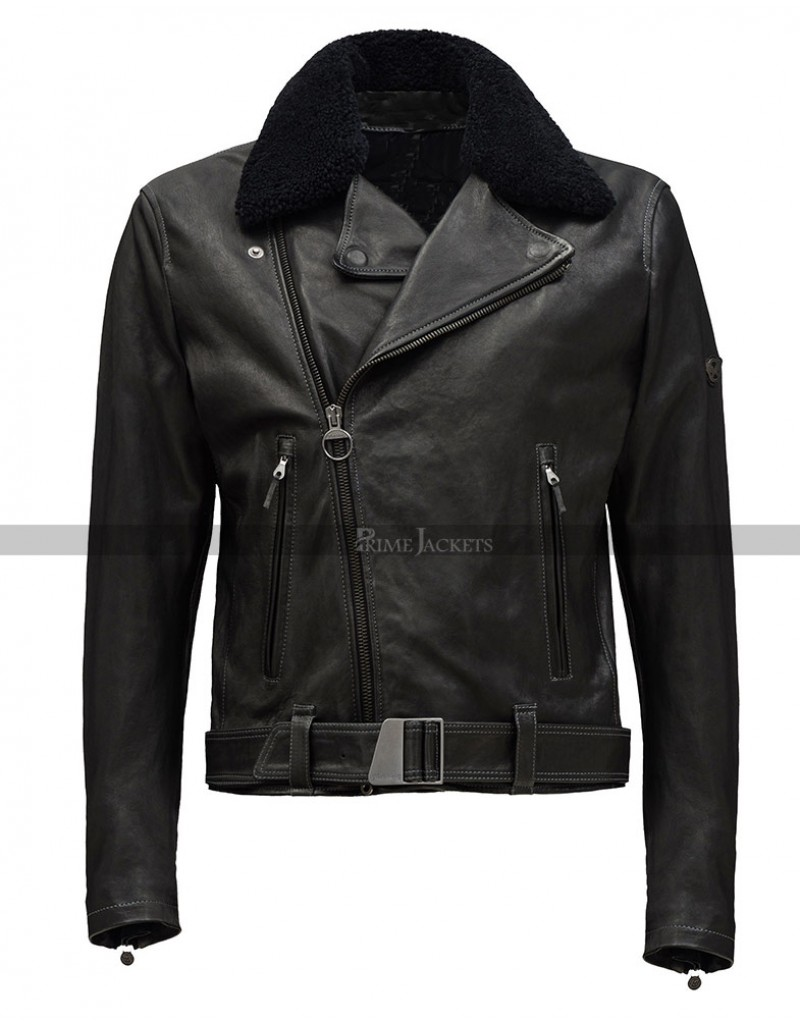 Life Dane Dehaan Black Biker Fur Collar Jacket