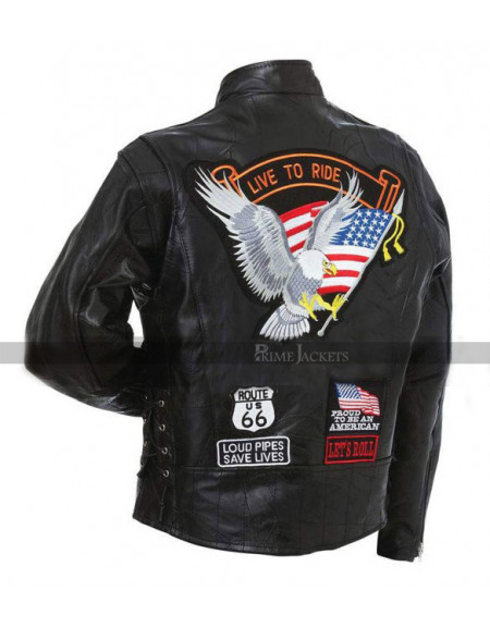 Ride To Live Motorcycle Jacket With Eagle USA