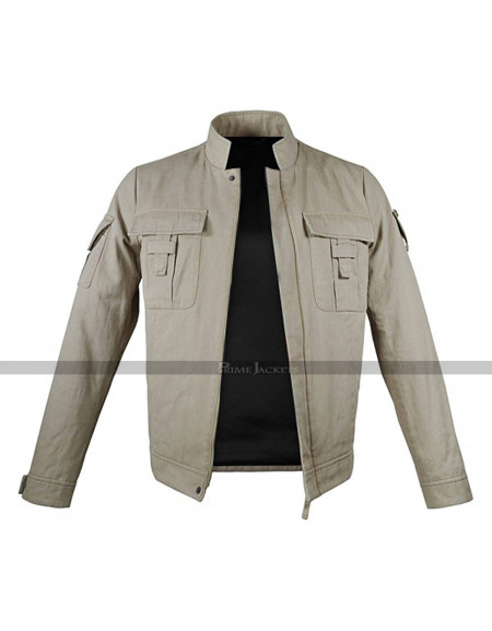 Luke Erect Collar Two Pockets Mens Braided Beige Cotton Jacket