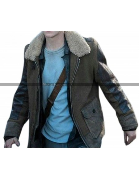 Maze Runner Death Cure Thomas Brodie Fur Collar Leather Jacket