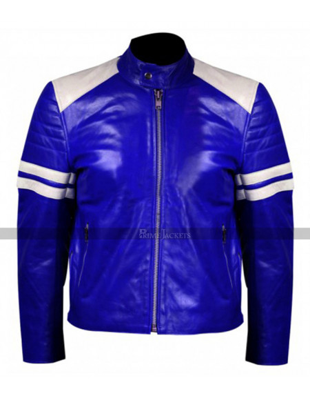 Men White Stripes Blue Jacket