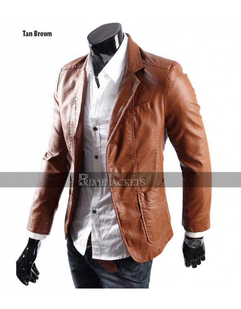 Men\u0027s Casual Smart Designers Black/Brown Leather Blazer Jacket