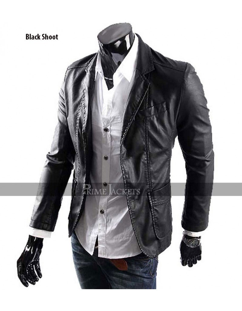 mens casual smart designers blackbrown leather blazer jacket