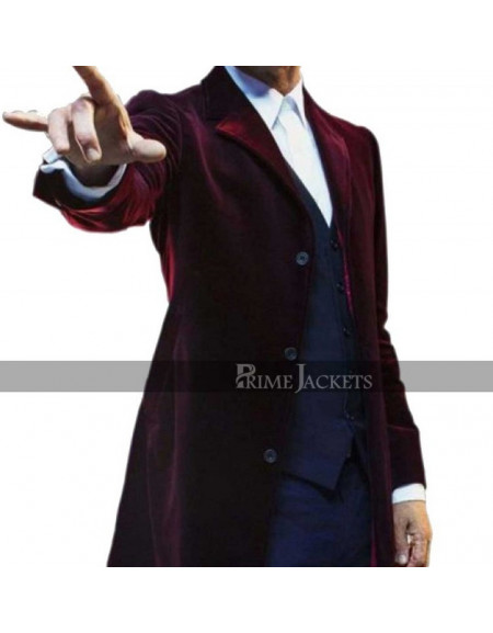 Mens 12th Doctor Who Peter Capaldi Maroon Coat