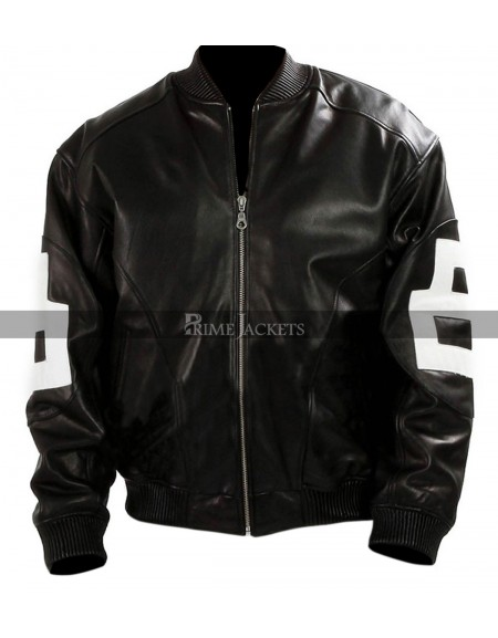 Mens 8-Ball Black Leather Bomber Jacket