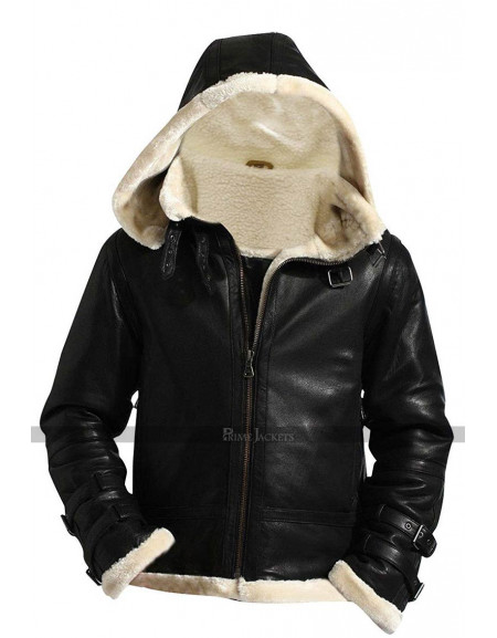 B3 Shearling White Fur Flying Pilot Aviator Jacket
