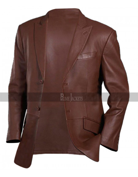 Mens Brown Leather Blazer Jacket Coat