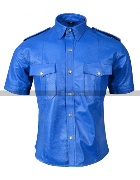 Leather Police Uniform Mens Genuine Real Shirt