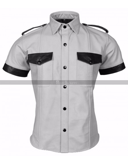 Mens Leather Police Uniform White Leather Shirt