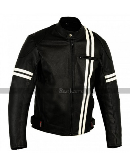 X-men Black White Stripes Vintage Leather Jacket