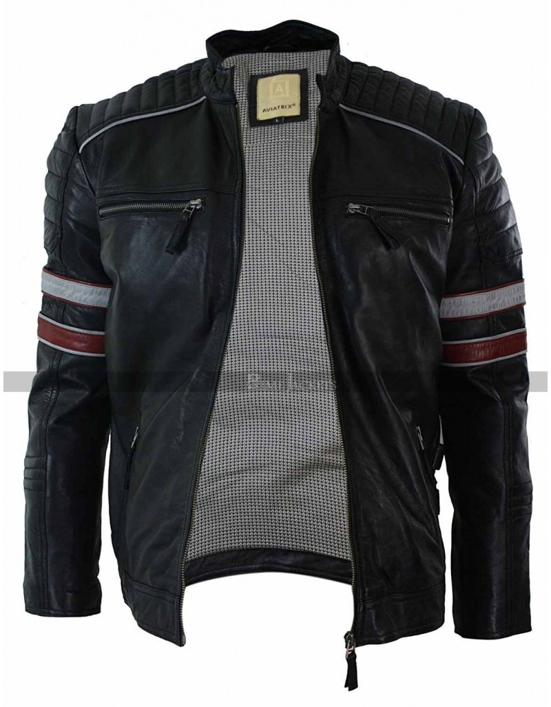 Mens Black Racing Stripes Quilted Casual Fit Jacket