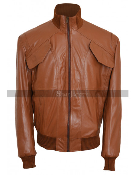 Men's 4 Pockets Slimfit Bomber Biker Leather Jacket