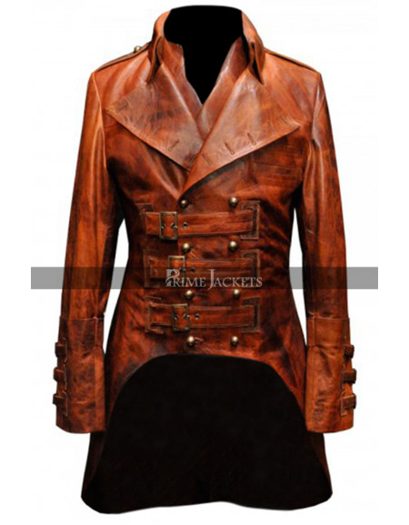 Military Mens Leather Steampunk Rock Designer Jacket Coat